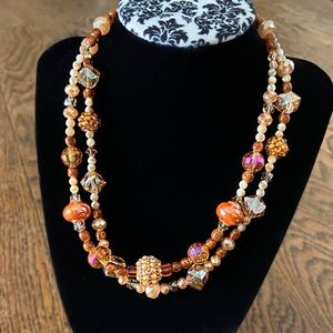 """NWT Sparkly Double Strand Beaded Necklace 16.5"""""""